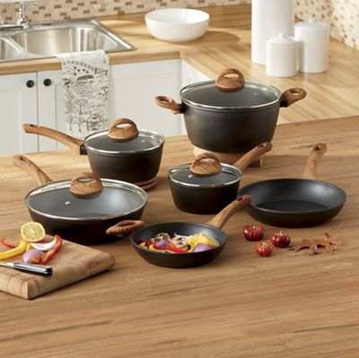 Newbury Aluminum Cookware Set with Faux Wood Handles by Oster