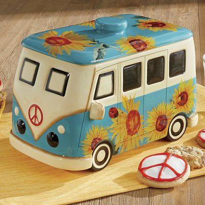 Hand-Painted Sunflower Van Cookie Jar