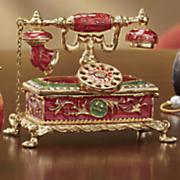 hand painted telephone trinket box