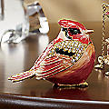 Hand-Painted Cardinal Trinket Box