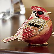 hand painted cardinal trinket box