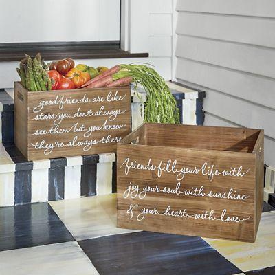 Set of 2 Friendship Wood Crates