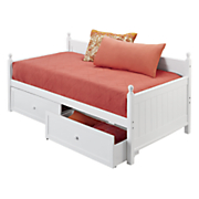 white wooden daybed storage drawers