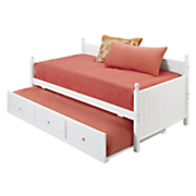 white wooden daybed trundle