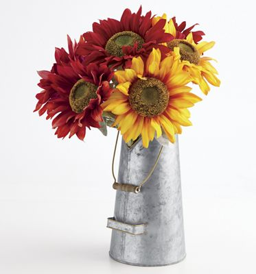 Metal Planter with Handle and Set of 2 Sunflower Stems