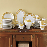 47-Piece Gold Accent Dinnerware Set
