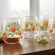 4 pc  stemless apple glass set