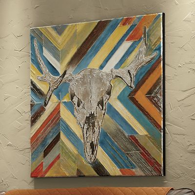 Hand-Painted Cow Skull Art
