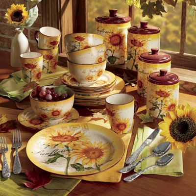 Sunflower Dinnerware Set and Canister Set