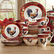 16 pc  sunflower rooster dinnerware