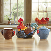 rooster teapot and sugar creamer set