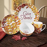 give thanks 16 pc  dinnerware set