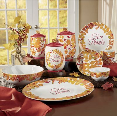 Give Thanks Dinnerware, Serving Set and Canister Set