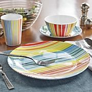 16 pc  melamine rainbow stripe dinnerware set