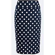 dot wide waist textured knit skirt