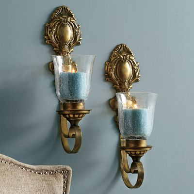 Ornate Metal Wall Sconce Set