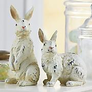 Set of 2 Distressed Resin Bunnies