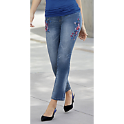 Floral-Embroidery Girlfriend Jean