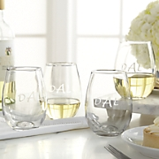 Set of 4 Personalized Stemless Wine Glasses