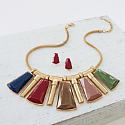 Multicolored/Geometric Necklace/Earring Set