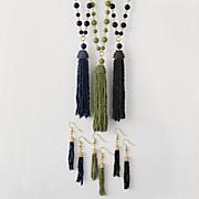 Bead/Tassel Long Necklace/Earring Set