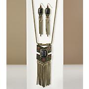Faux-Stone/Fringe Long Necklace/Earring Set