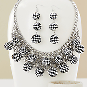 Black/White Houndstooth Necklace