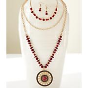 Medallion/Goldtone Necklace/Earring Set