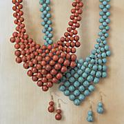 Faux-Stone Bib/Goldtone Necklace/Earring Set