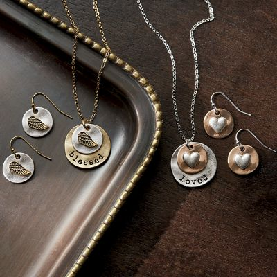 Two-Tone Sentiments Necklace/Earring Set