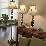 3-pc Floor and Table Lamp Set