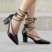 Embellished Heel Ankle-Wrap Pump by Monroe and Main