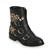 Embroidered Buckle Bootie by Monroe and Main