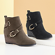 Double-Buckle Wedge Bootie by Monroe and Main