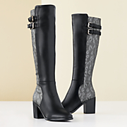 Lace-Print Tall Boot by Monroe and Main