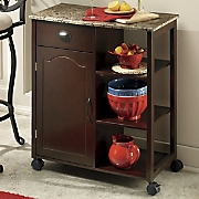 Faux-Marble Top Kitchen Cart