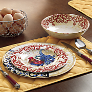 Scroll Rooster Melamine Dinnerware Set