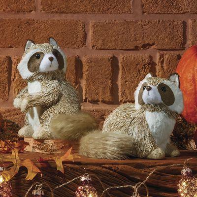 Set of 2 Glistening Raccoons