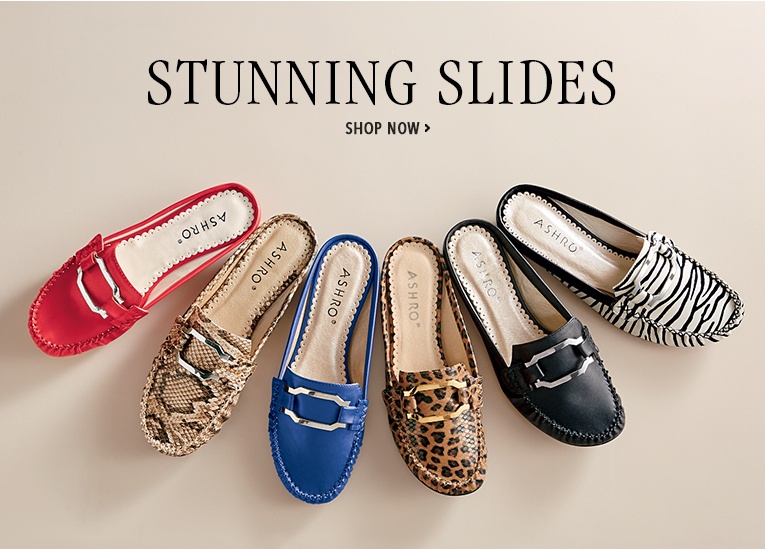 Stunning Slides Shop Now, featuring rush hour shoes