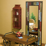 Leeds Coffee Table, Rustic Mirror, colored Medicine Cabinet