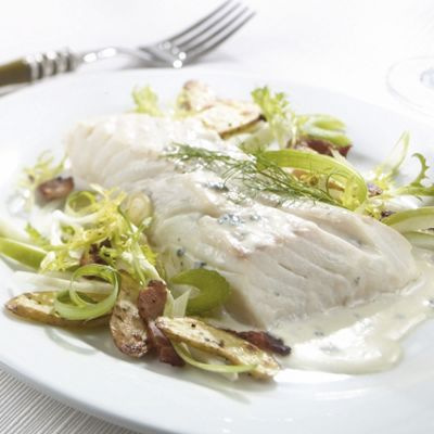 Wisconsin Blue Cheese Poached Halibut
