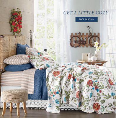 Banner Get a Little Cozy featuring the Blooming Prairie Quilt & Bed u0026 Bath - Linens Décor Storage Furniture u0026vert; Country Door