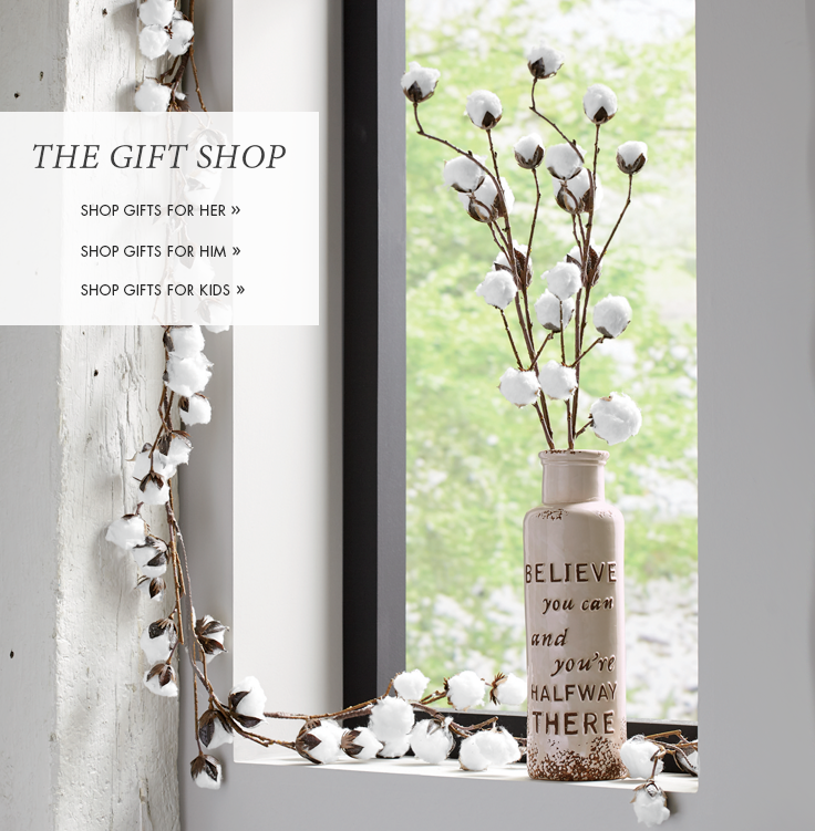 Banner: The Gift Shop, featuring Cotton Garland and Sprays