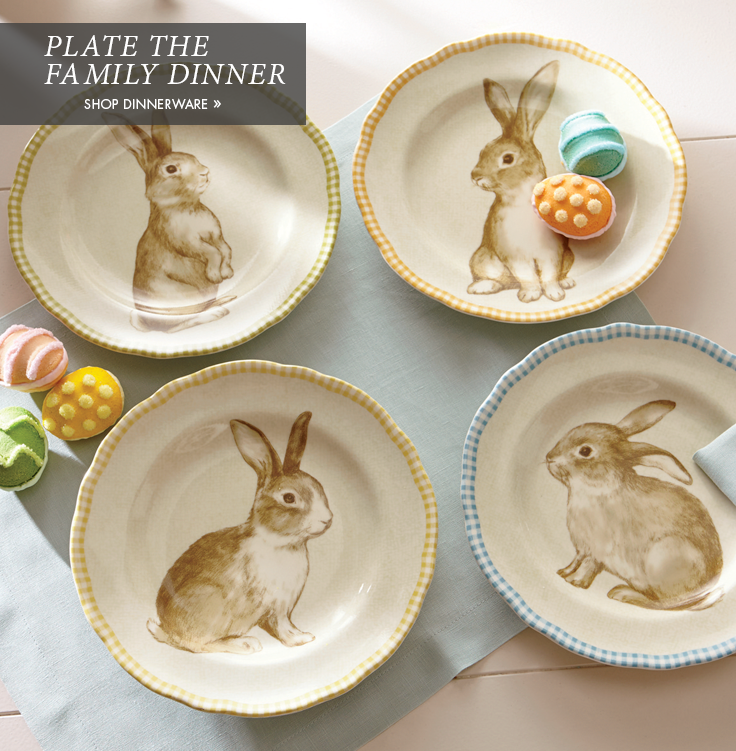 Banner: Plate the Family Dinner. Featuring a Set of 4 Assorted Bunny Plates