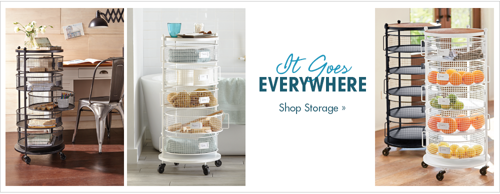 Banner: It Goes Everywhere, featuring the Round Floor Organizer
