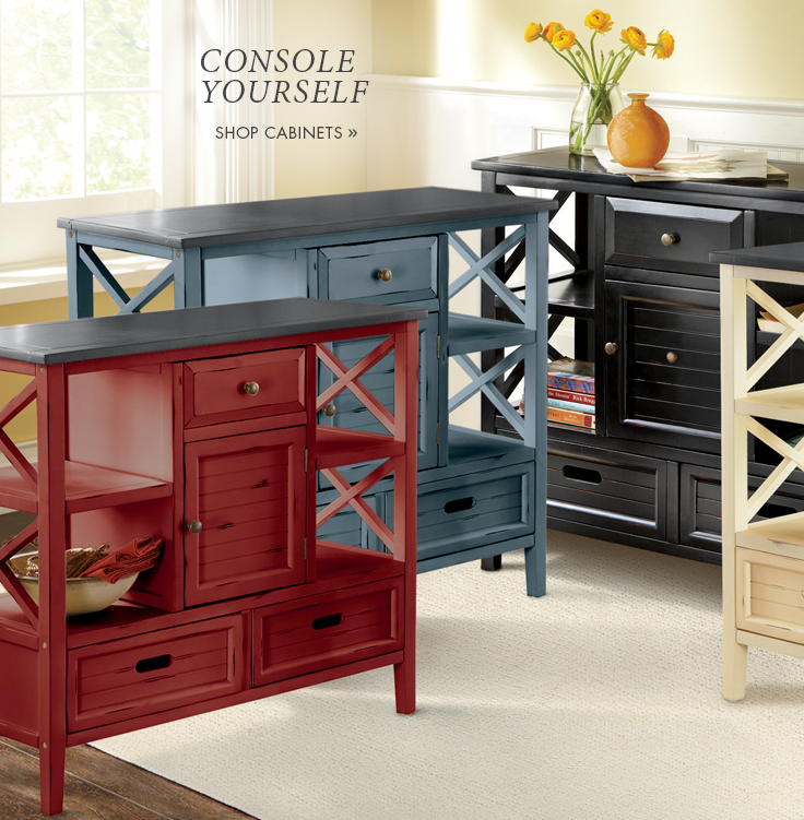Banner: Console Yourself Shop Cabinets, featuring Console Cabinet