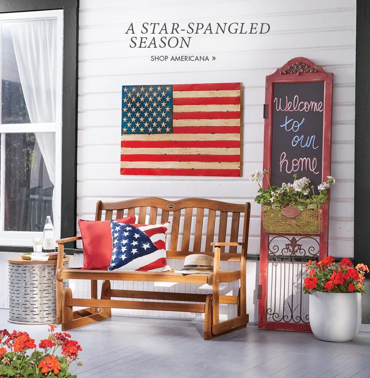Banner: A Star-Spangled Season Shop Americana, featuring Metal Flag Chalkboard Wall Decor Flag Pillow Gliding Bench