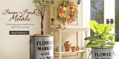 Banner: Farm Fresh Metals Gleaming Galvanized Pieces Reflect The Country.  Shop Farm Metals