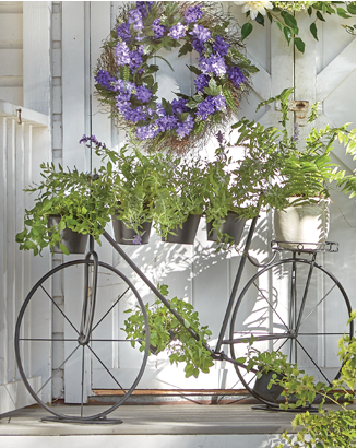 Banner: Blooms Where They're Planted Shop Planters, featuring Bike Plant Stand