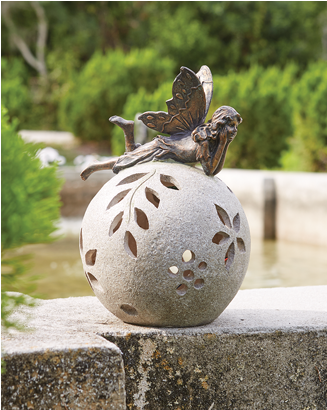 Banner: Shop Solar Sculptures, featuring Fairy Adorned Lighted Globe